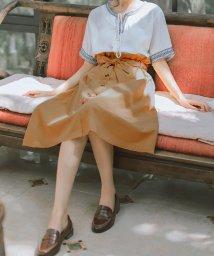 miniministore/トレンチ スカート ひざ丈 ハイウエスト スカートフリルスカート 膝丈 ベルト スカート ウエストゴム/502721873