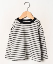 petit main/ミニ裏毛 ビッグボーダーTシャツ/502702080