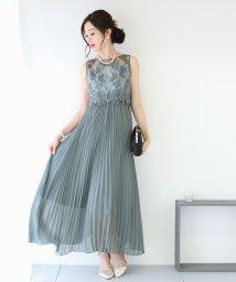 BLUEEAST/刺繍レース切り替えプリーツスカートロングワンピース/502725092