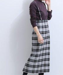 NOBLE/《WEB限定》オーバーチェックショルダーストラップスカート◆/502737780