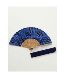 KAYA/【カヤ】和の香り 幾何学合わせ紙扇子 袋付き ブルー/502275629