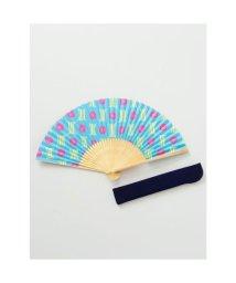 KAYA/【カヤ】和の香り 縞椿紙扇子 袋付き ブルー/502275645