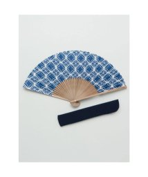 KAYA/【カヤ】和の香り 菱文様紙扇子 袋付き ブルー/502275647