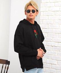 LUXSTYLE/バラ刺繍ビッグパーカー/パーカー メンズ ビッグシルエット 薔薇 刺繍 プルオーバー/502750934