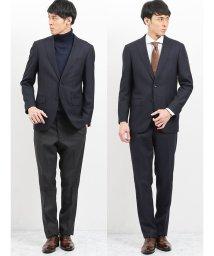 m.f.editorial/ウール混コーディネート2パンツ レギュラーフィットスーツ ヘリンボン紺/502750035