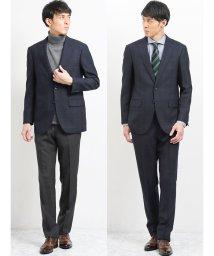 m.f.editorial/ウール混コーディネート2パンツ レギュラーフィットスーツ ウィンドペン紺/502750036