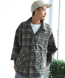LUXSTYLE/オーバーサイズシャツジャケット/シャツジャケット メンズ オーバーサイズ チェック ウール コート/502771366