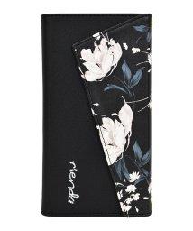 Mーfactory/rienda[ロングストラップ・小銭収納付き3つ折り手帳/Grace Flower/ブラック] iPhone11/502768427