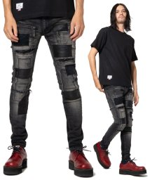 glamb/Unplugged leather patch denim/502769837