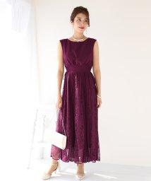 BLUEEAST/《結婚式 パーティー 二次会》サイドレースアップレース×プリーツ切替ドレス/502348348