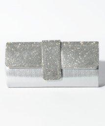 STYLEBLOCK/ミニラインストーン装飾光沢サテンパーティークラッチバッグ/502701709