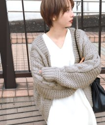 coca/ざっくり手編み風ロングスリーブニットカーディガン/502724812
