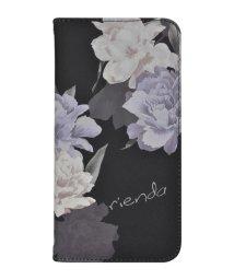 Mーfactory/rienda[全面/Layer Flower/ブラック]手帳ケース iPhoneXR/502768388