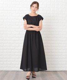 Lace Ladies/フレンチスリーブシンプルマキシ丈ワンピース/502773838