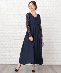 Lace Ladies/袖レース切替Aラインフレアロングワンピース・ドレス/502773847