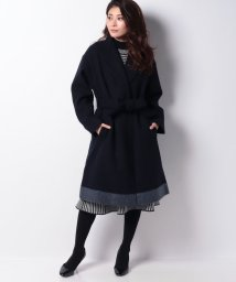 INTERPLANET/ニットメルトン裾配色スタンドカラーコート/502774555