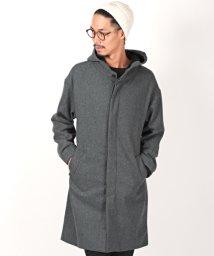 LUXSTYLE/ウールフーデッドコート/ロングコート メンズ コート ウール メルトン BITTER ビター系 冬/502780574