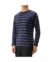 MAC HOUSE(men)/Navy ネイビー ヘリンボーンボーダ-Tシャツ MH/03651FW/502780598