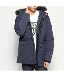 GUESS/ゲス GUESS FAUX FUR HOODED PUFFA JACKET (BLUE NAVY/BLUE)/502783178