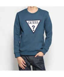 GUESS/ゲス GUESS CORDUROY TRIANGLE LOGO SWEAT (TURQUOISE)/502783181