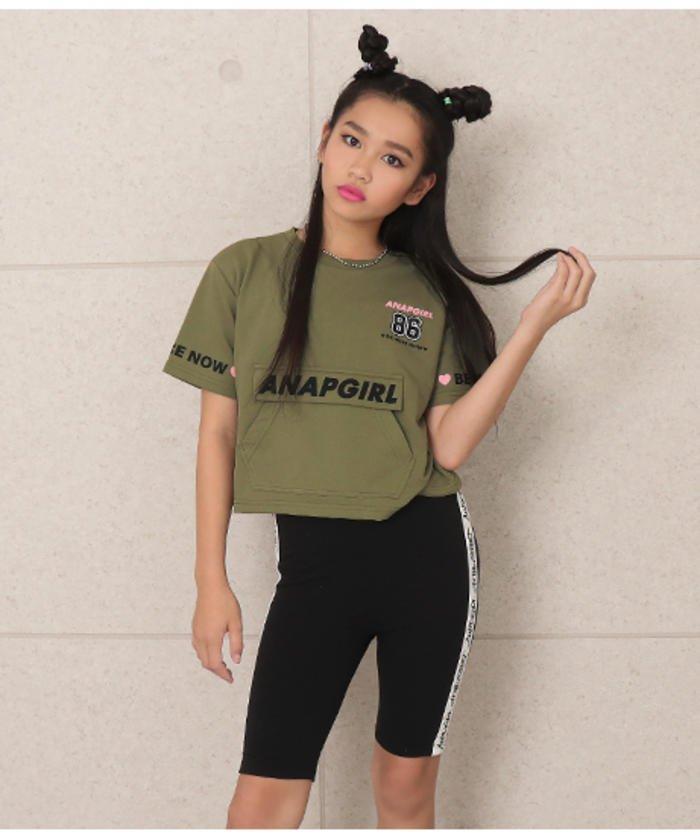 袖ロゴBIGポケット付Tシャツ