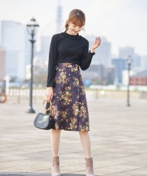 tocco closet luxe/リブニットソー×フラワープリントドッキングワンピース /502777741
