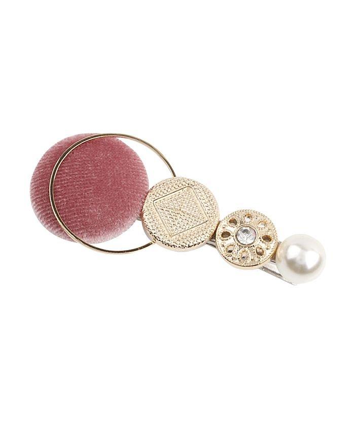 クリームドット ベロアボタンとメタルの異素材MIXヘアクリップ レディース ピンク ワンサイズ 【cream dot】