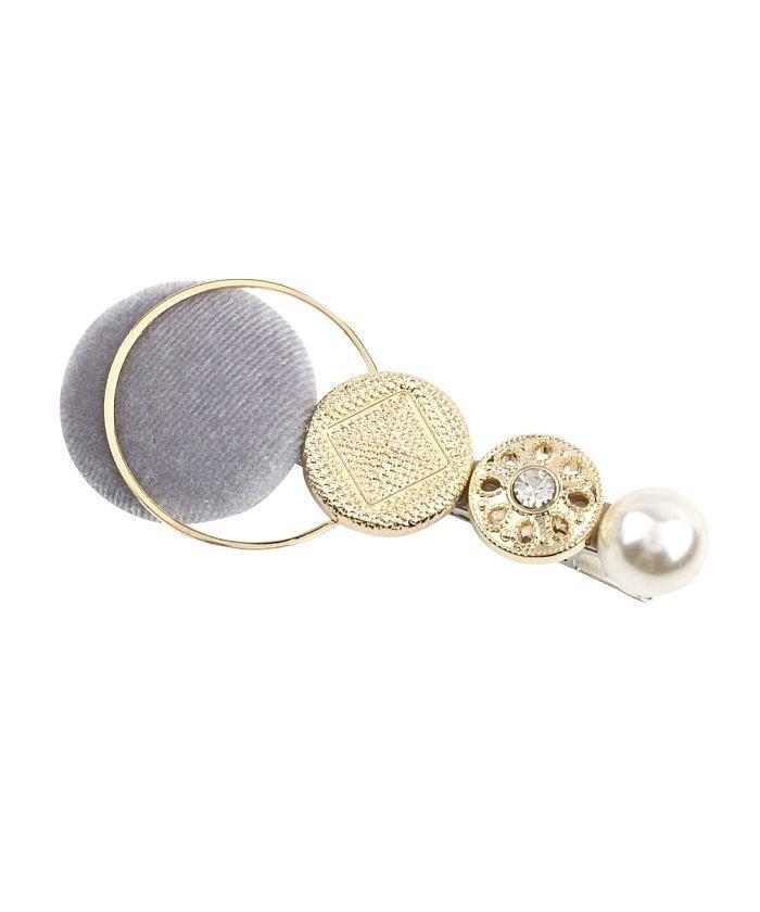 クリームドット ベロアボタンとメタルの異素材MIXヘアクリップ レディース グレー ワンサイズ 【cream dot】