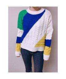 STYLE H/ざっくり ラウンドネック ボーダー カラフル ニット セーター 韓国ファッション/502792053