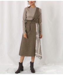 Alluge/ワンショルダースカーフ切替スカート/502796238
