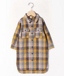 petit main/ロングチェックシャツワンピース/502789954