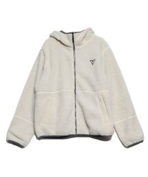 GUESS/ゲス GUESS UNISEX LOGO REVERSIBLE HOODED ZIP UP JACKET (IVORY)/502804046