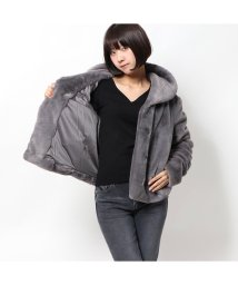 GUESS/ゲス GUESS SOPHY SHAWL COLLAR FAUX FUR JACKET (PUNK ROCK GREY)/502807336