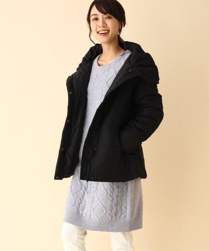 【2点セット】中綿コート+ケーブルニットワンピース