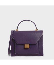 CHARLES & KEITH/【2019 WINTER 新作】クロックエフェクトトップハンドルバッグ / Croc-Effect Top Handle Bag (Purple)/502813253