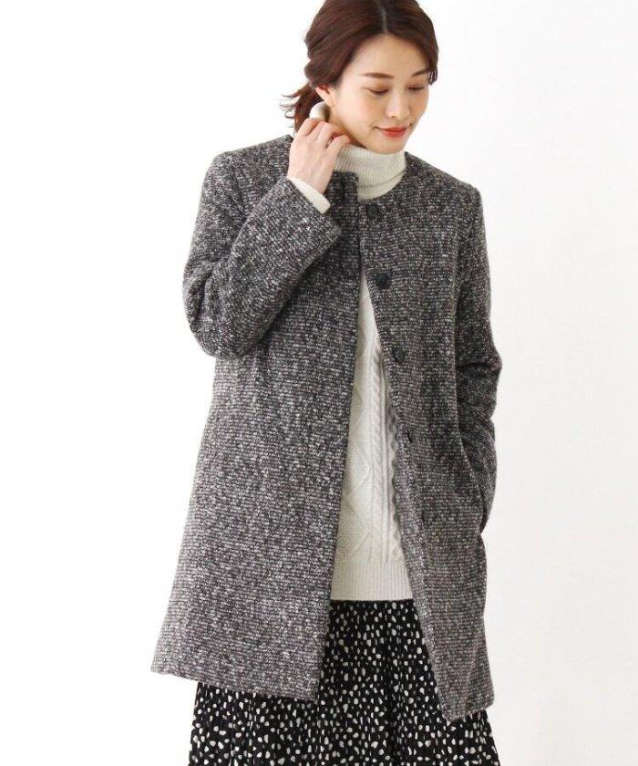 中綿ツィードノーカラーコート