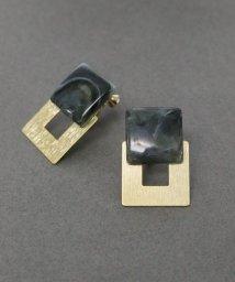 ninon/【2種展開】マーブルストーン×ゴールドの異素材イヤリング/502822623