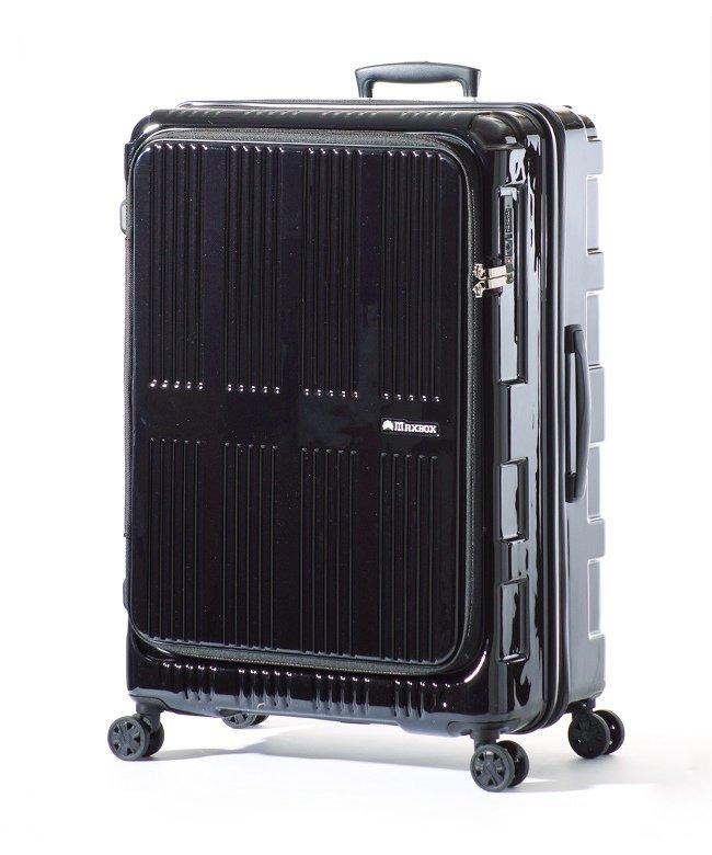 カバンのセレクション アジアラゲージ マックスボックス スーツケース フロントオープン 拡張 90L/102L Lサイズ 受託手荷物規定内 MAXBOX ALI−5711 ユニセックス ブラック フリー 【Bag & Luggage SELECTION】