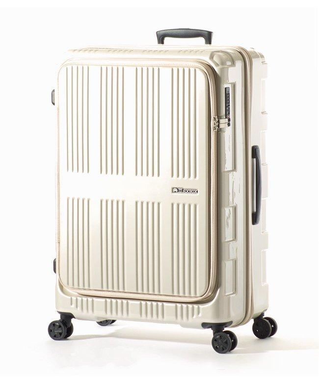 カバンのセレクション アジアラゲージ マックスボックス スーツケース フロントオープン 拡張 90L/102L Lサイズ 受託手荷物規定内 MAXBOX ALI−5711 ユニセックス ホワイト フリー 【Bag & Luggage SELECTION】