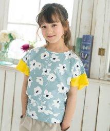 calinou/フラワープリント袖フリルTシャツ/502814806