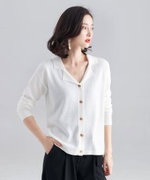SAISON DE PAPILLON/ウール混オープンカラーニットシャツ/502822488