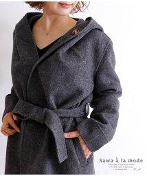 Sawa a la mode/フード付きヘリンボーン模様のロングコート/502834059