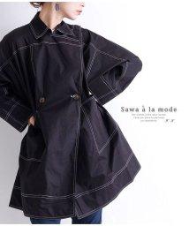 Sawa a la mode/ステッチを効かせたステンカラーのショートコート/502834065
