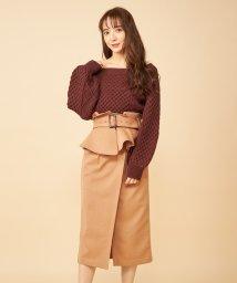 MIIA/コルセットベルト付きタックタイトスカート/502837491