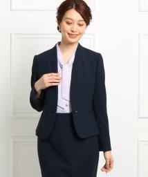SunaUna/◆【ママスーツ/入学式 スーツ/卒業式 スーツ】コンパクトダブルクロスVネックカラーレスジャケット/502842365