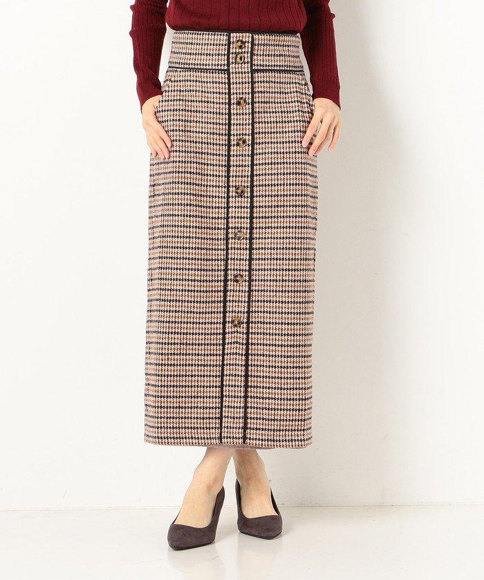 A−チェックワイドベルト配色スカート
