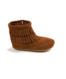 MINNETONKA KIDS/DOUBLE FRINGE SIDE ZIP BOOT Brown【37115010】/502852033