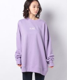 X-girl/EMBROIDERED MILLS LOGO CREW SWEAT TOP/502835012
