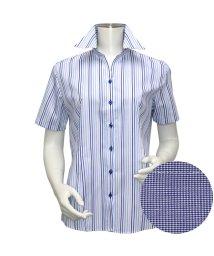 BRICKHOUSE/ウィメンズシャツ半袖形態安定 スキッパー衿 ブルー系/502848225