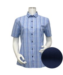 BRICKHOUSE/ウィメンズシャツ半袖形態安定 ワイド衿 ブルー系/502848231